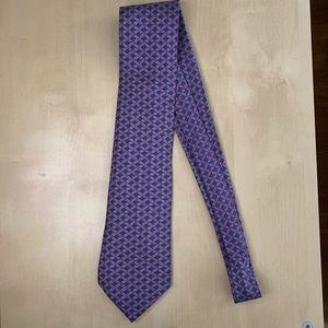 Hermès Purple Geometric Tie 100% Silk